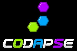 Logo de Codapse comprenant le nom surmonté de trois hexagones de couleur