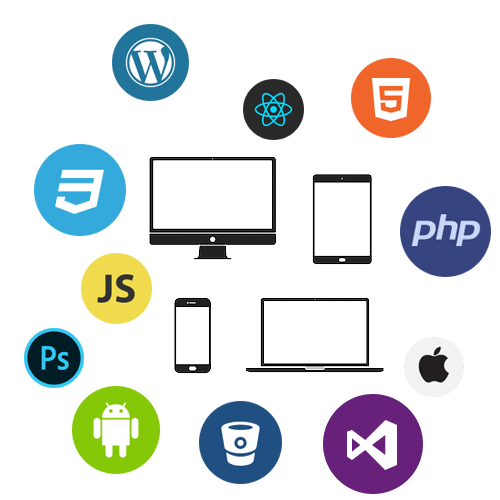 Ensemble de logos de technologies et langages de développement (JavaScript, WordPress, HTML5, CSS3, Visual Studio, Android, iOS, etc.)