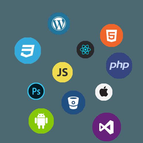 Ensemble de logos de langages et technologies en rapport avec les formations proposées (WordPress, HTML5, CSS3, JavaScript, Android, etc.)