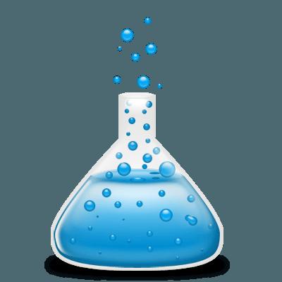 Erlenmeyer stylisé bleu avec bulles s'en échappant