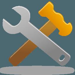 Clé à molette et marteau croisés