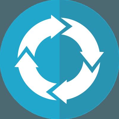 Flèches stylisées en cercle représentant un cycle